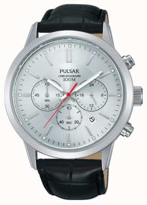 Pulsar | Mens Chronograph | Silver Dial | Black Leather Strap | PT3749X1