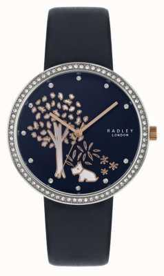 Radley | Womens Navy Leather Strap | Crystal Set Bezel | Tree Dial RY2783