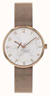 Radley | Womens Rose Gold Mesh Bracelet | White Embossed Dog Dial | RY4392