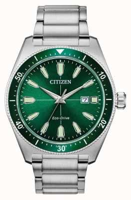 Citizen | Mens Eco Drive Sport | Stainless Steel Bracelet Green Dial AW1598-70X