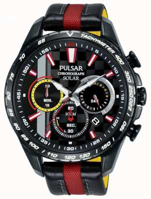 Pulsar | Mens Limited Edition | RedBlack Leather | Black Dial | PZ5081X1