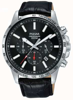 Pulsar | Mens Black Leather Strap | Black Dial | PT3A01X1