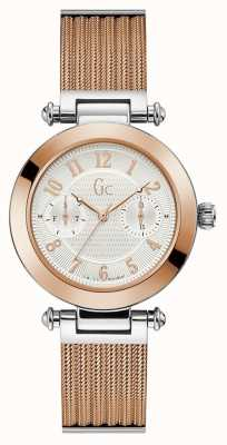 Gc | Womens PrimeChic | Rose Gold Mesh Bracelet | White Dial | Y48002L1MF
