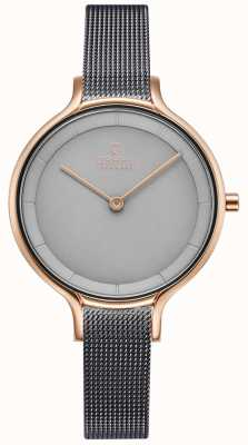 Obaku | Womens Dok Granite | Grey Mesh Bracelet | Rose Gold Case | V227LXVJMJ