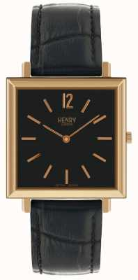 Henry London Heritage Square Black Dial Black Leather Strap Watch HL34-QS-0270