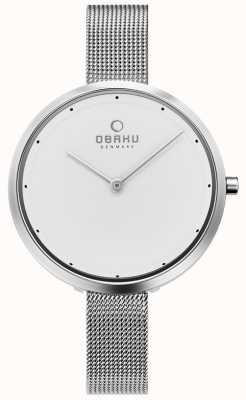 Obaku | Womens Dok Steel | Silver Mesh Bracelet | White Dial | V227LXCIMC