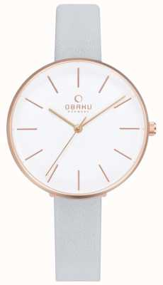 Obaku | Womens Mynte Dove | Light Blue Leather | White Dial | V211LXVIRL