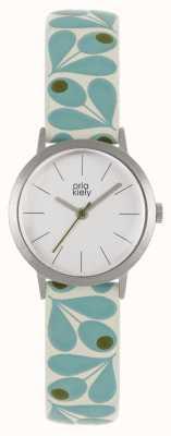 Orla Kiely | Womens Small Silver Case | Pale Blue Acorn Print Strap | OK2317