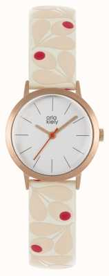 Orla Kiely | Womens Small Rose Gold Case | Pale Pink Acorn Strap | OK2318