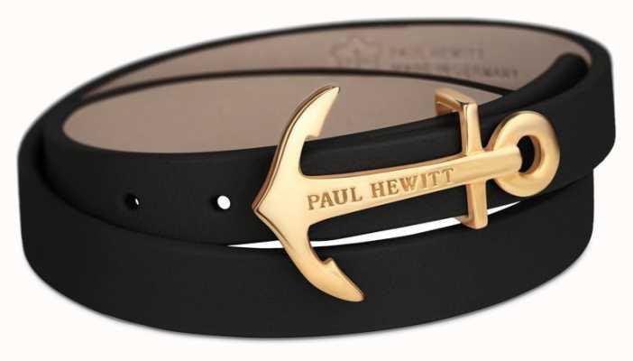 Paul Hewitt Jewellery gold Anchor Black Leather PH-WB-G-2M
