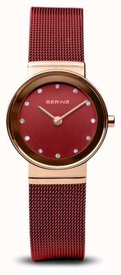 Bering Womens | Classic | Red PVD Steel Mesh Bracelet 10126-363