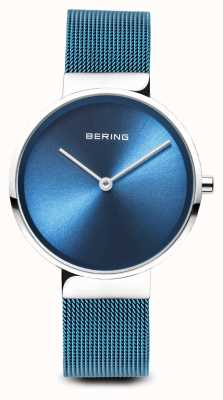 Bering Womens | Classic | Blue PVD Plated Steel Mesh Bracelet 14531-308