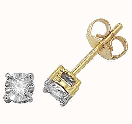 James Moore TH 9k Yellow Gold Diamond Illusion Set Stud Earrings ED143
