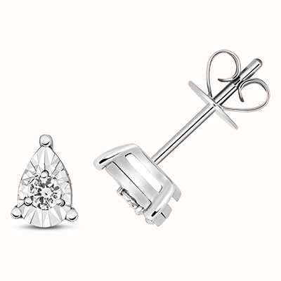 James Moore TH 9k White Gold Diamond Illusion Pear Stud Earrings ED338W