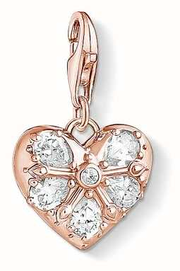 Thomas Sabo Charm Pendant 'Heart' 925 Sterling Silver; 18k Rose Gold Pla 1571-416-14