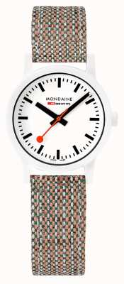 Mondaine Essence 32mm | White Dial | Cork Textile Strap MS1.32110.LG