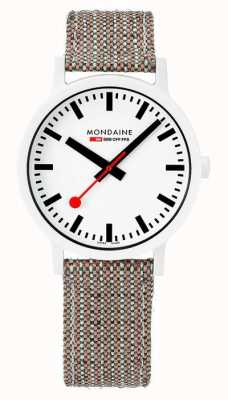 Mondaine Essence 41mm | White Dial | Cork Textile Strap MS1.41110.LG