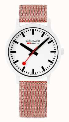 Mondaine Essence 41mm | White Dial | Cork Textile Strap MS1.41110.LP