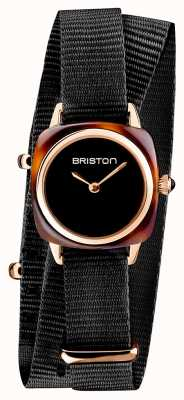 Briston | Clubmaster Lady | Single Black Nato Strap | Tortoise Shell 19924.PRA.T.1.NB
