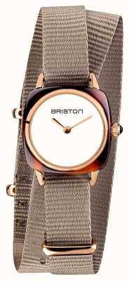 Briston | Clubmaster Lady | Single Taupe Nato Strap | Rose Gold PVD 19924.PRA.T.2.NT