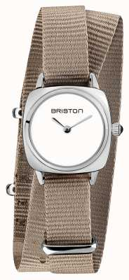 Briston | Clubmaster Lady | Single Taupe Nato Strap | White Dial | 19924.S.M.2.NT