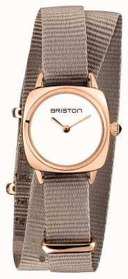 Briston | Clubmaster Lady | Single Taupe Nato | Rose Gold PVD Case | 19924.SPRG.M.2.NT