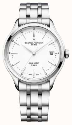 Baume & Mercier | Mens Clifton | Baumatic | Stainless Steel | White Dial | BM0A10400