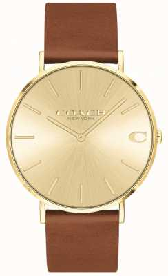 Coach   Mens   Charles   Brown Leather Strap   Gold Dial   14602433