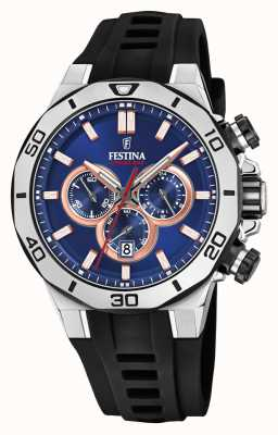 Festina Chrono Bike 2019 | Black Rubber Strap | Blue Dial F20449/1