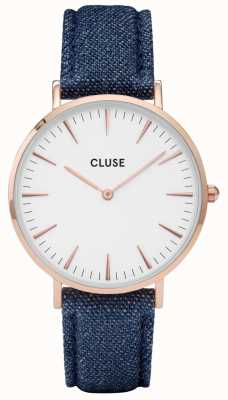 CLUSE | La Bohème | Blue Strap | White Dial | Rose Gold Case | CL18025
