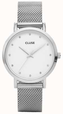 CLUSE | Pavane Silver Stones | Steel Mesh Bracelet | White Dial | CL18301