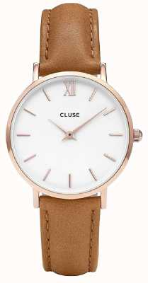 CLUSE | Womens Minuit | Brown Leather Strap | White Dial | CL30021