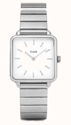 CLUSE | La Tétragone | Single Link Stainless Steel | White Dial | CL60022S
