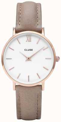 CLUSE | Women's Minuit | Hazelnut Leather Strap | White Dial | CL30043