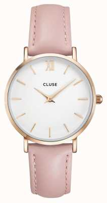 CLUSE | Womens Minuit | Pink Leather Strap | White Dial | CL30001