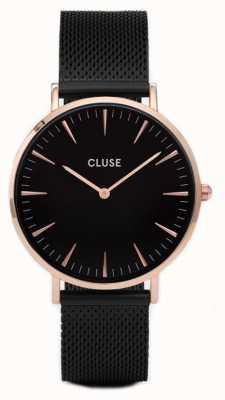 CLUSE | La Bohème | Black Mesh Strap | Rose Gold Case | Black Dial | CW0101201010