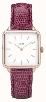 CLUSE | La Tétragone | Pink Lizard Strap | White Dial | CL60021