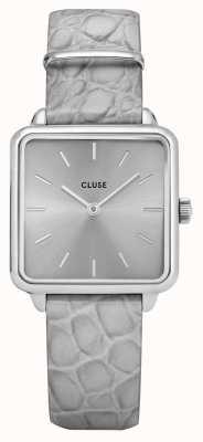 CLUSE | La Tétragone | Grey Alligator Strap | Silver Dial | CL60018