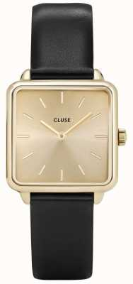CLUSE | La Tétragone | Black Leather Strap | Gold Dial | Gold Case CL60004