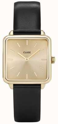 CLUSE | La Tétragone | Black Leather Strap | Gold Dial | Gold Case CL60004