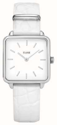 CLUSE | La Tétragone | White Alligator Strap | White Dial | CL60017