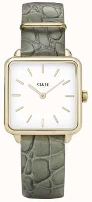 CLUSE | La Tétragone | Green Alligator Strap | White Dial | CL60016