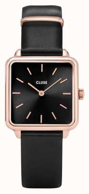 CLUSE | La Tétragone | Black Leather Strap | Black Dial | CL60007
