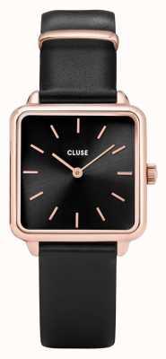 CLUSE | La Tétragone | Black Leather Strap | Black Dial | CL60007