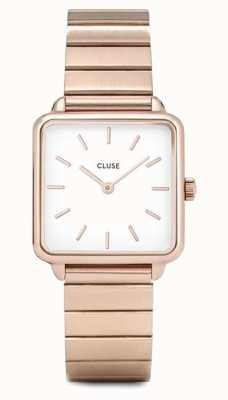 CLUSE | La Tétragone | Single Link Rose Gold Bracelet | White Dial CL60024S