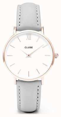 CLUSE   Womens Minuit   Grey Leather Strap   White Dial CL30002