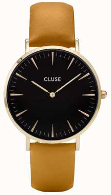 CLUSE | La Boheme | Mustard Leather Strap | Black Dial | Gold Case CL18420