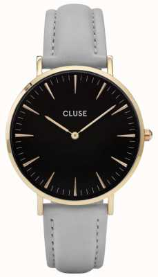 CLUSE | La Boheme | Grey Leather Strap | Black Dial | Gold Case | CL18411