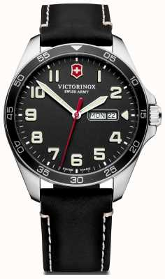 Victorinox Swiss Army | Mens Fieldforce | Black Leather Strap | Black Dial | 241846
