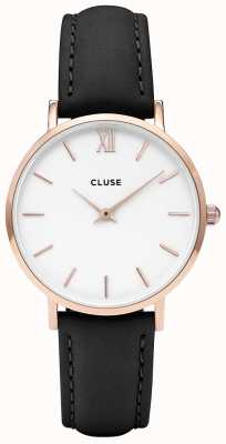 CLUSE | Womens Minuit | Black Leather Strap | White Dial | CW0101203020
